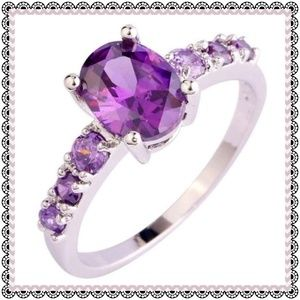 Jewelry - Sterling Silver Amethyst ring, solid .925 setting
